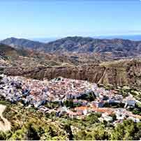 Areal Photography of white village Canillas de Aceituno with deam houses