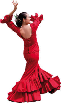 Andalusian flamenco dancer with red dress