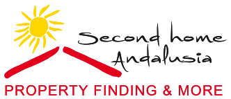 logo second home andalusia with our slogan: property finding and more